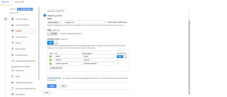 google analytics hedef-hedef ayrıntıları